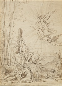 saint sebastien (étude avec saintes femmes et anges apparaissant) by gustave moreau