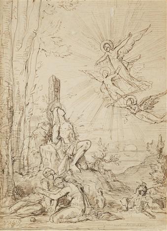 saint sebastien étude avec saintes femmes et anges apparaissant by gustave moreau