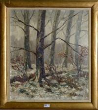 sous-bois sous la neige by alfred théodore joseph bastien