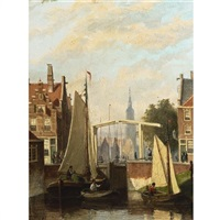 boats on a canal in a dutch town by johannes frederik hulk the elder