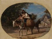italienischer bauer auf einem esel mit zwei kindern by robert alexander hillingford