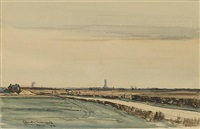 distant view of boston stump by claude muncaster