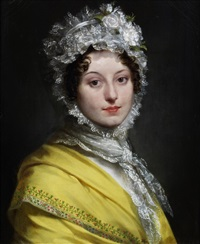 portrait of louise de guéhéneuc, duchesse de montebello (1782-1856), bust-length, in a yellow shawl and a lace bonnet by pierre-paul prud'hon