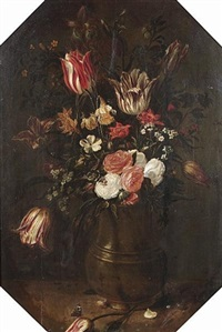 tulips, roses, narcissi, forget-me-nots and other flowers in a bronze vase on a table top with a red admiral butterfly and a bumblebee by jacob woutersz vosmaer