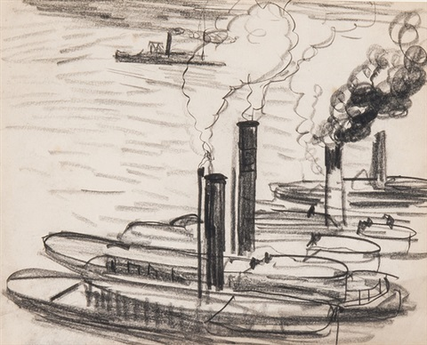 tugs on river hudson by dame laura knight