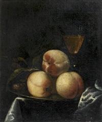 nature morte aux pêches et au verre de vin by willem frederik van royen