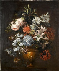 roses, honeysuckle, lilies and other flowers in a classical urn on a table top by antoine monnoyer