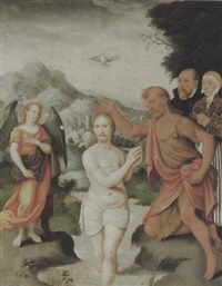 die taufe christi durch johannes mit engel und stifterpaar by hermann tom ring