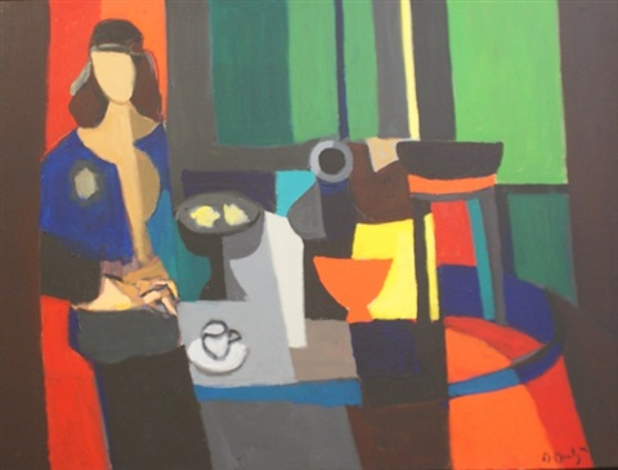 interieur jeune fille au corsage bleu by marcel mouly