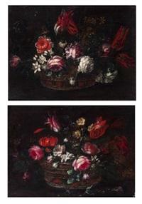 nature morte au bouquet de fleurs dans un panier d'osier (pair) by giuseppe vicenzino
