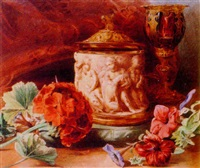 still life of flowers, a stein and goblet by valentine bartholomew