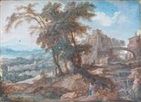 paysage au pont animé de personnages by pierre antoine patel