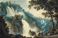 veduta di tivoli con le cascatelle e la vista della villa di mecenate (+ veduta delle cascatelle di tivoli; pair) by pietro martorana