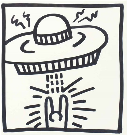 untitled man with ufo by keith haring