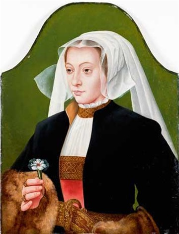 portrait de femme en buste en coiffe blanche tenant un oeillet by bartholomäus (barthel) bruyn the younger
