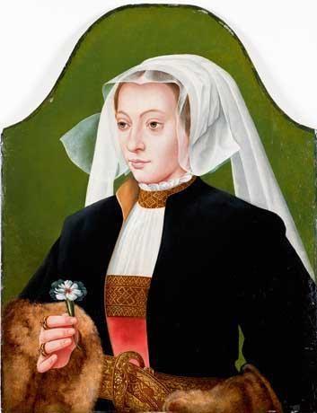 portrait de femme en buste en coiffe blanche tenant un oeillet by bartholomäus barthel bruyn the younger