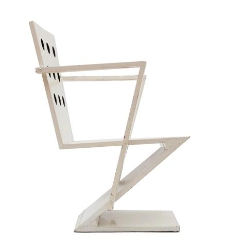 A White Painted U0027moolenbeeku0027 Zig Zag Chair By Gerrit Rietveld