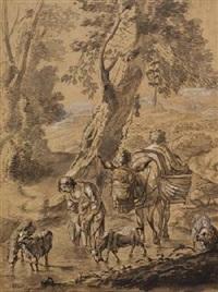 hirtin mit esel und ziegen vor italienischer landschaft by jacob van der does the elder