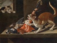 zwei katzen, die sich um fleisch und erlegte vögel streiten by paul de vos