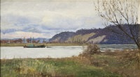 barge on the river by william henry bartlett