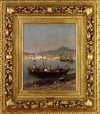 bringing in the catch before mount vesuvius, the bay of naples (+ another similar; pair) by a. remy