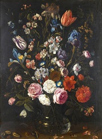 a still life of tulips, irises, apple blossom, roses, convolvulus, gooseberries and other flowers in a glass vase by jan van kessel