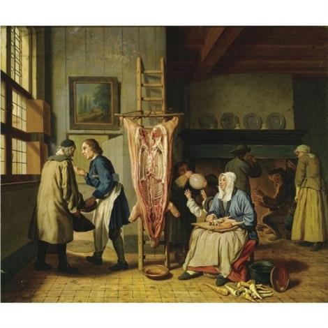 Interior of a butchers home, with a slaughtered pig, a woman ...