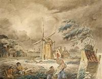 a windy day by adrianus van der koogh