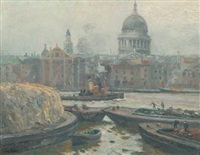 st. pauls cathederal & the pool of london by charles david jones bryant
