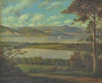 hudson river view of catskills by frederick leo hunter