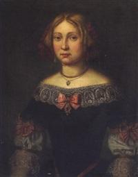 portrait einer jungen dame in historischen kleid des 17. jhdts. by josef valentin