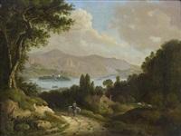 jeune cavalier sur un chemin dominant un rivage montagneux by peter nasmith