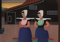 melkmeisjes (walcheren) by johan van hell