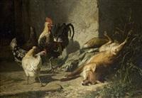 toter fuchs und hühner by johann baptist hofner