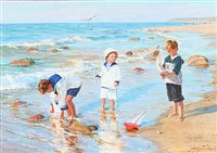 beach scene woth playing kids by aleksandr averin
