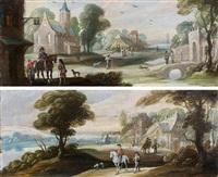 cavaliers arrivant à l'auberge et cavaliers longeant une rivière (pair) by jasper van der laanen