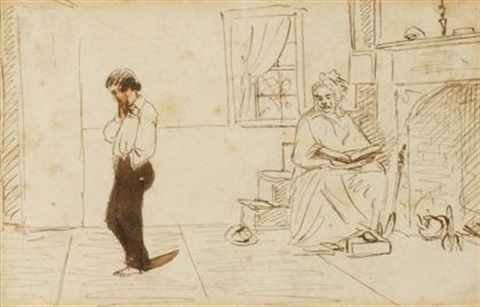 two figures in an interior by william sidney mount