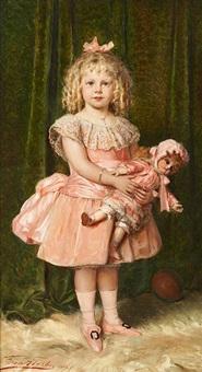 jeune fille en rose et sa poupée assortie by léon herbo