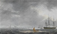 shipping at anchor in the thames estuary by samuel atkins