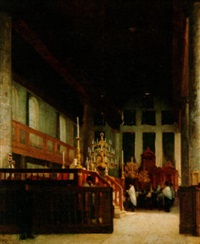 a view of the portuguese-israelite synagogue, amsterdam by jan jacob schenkel