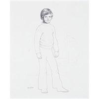 retrato del príncipe felipe (+ retrato de s.m. juan carlos i, etching; 2 works) by alberto duce
