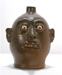 primitive early experimental rock tooth face jug by lanier meaders
