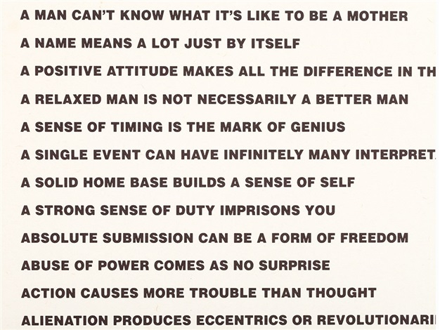 jenny holzer truisms and essays Jenny holzer (nacida el 29 de julio de 1950 en gallipolis, ohio)  1983 truisms and essays 1990 laments 1991 the venice installation 1996 writing 1997 lustmord.