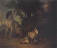 chiens devant un trophée de chasse by pierre-adolphe badin