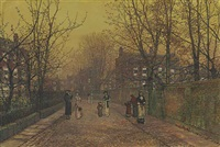 a village street on sunday eve some eighty years ago by john atkinson grimshaw