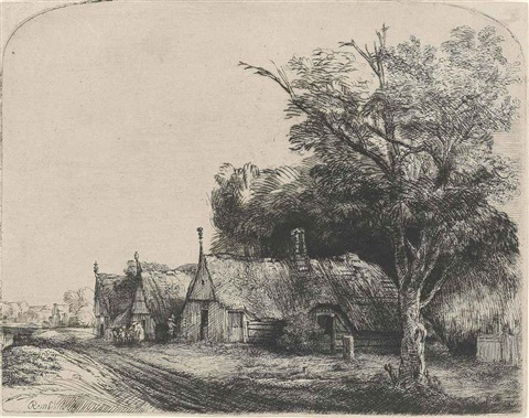 landscape with three gabled cottages beside a road by rembrandt van rijn