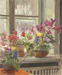 cyclamen and hyacinths on a window sill by olga aleksandrovna (princess of storfyrstinde)