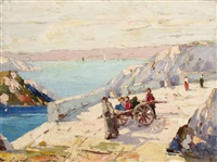 children playing on a bridge on the capri island by rudolph negely