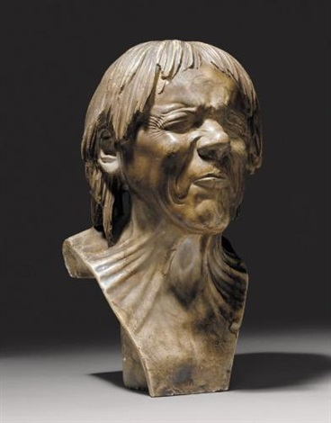 bust of the so called rescued from drowning patinated alabaster carved with eyes tightly shut and mouth closed by franz xaver messerschmidt