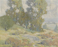 a stand of trees and rolling hills by paul lauritz